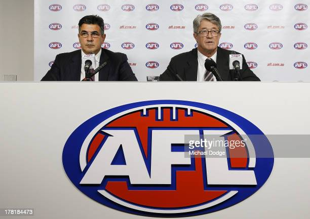 Andrew Demetriou and AFL Commission Chairman Mike Fitzpatrick speak at the media conference for the Essendon Bombers AFL Commission Hearing at AFL...