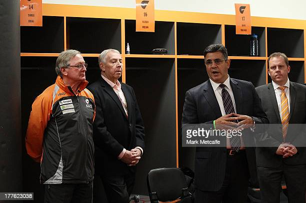 Andrew Demetriou speaks about Kevin Sheedy before his last match in Sydney as Head Coach of the Giants during the round 22 AFL match between the...