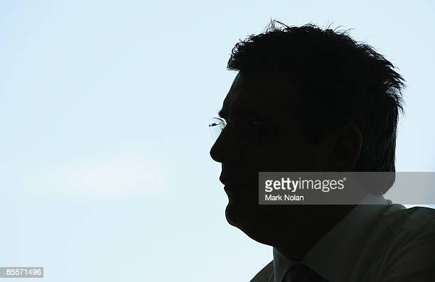 Andrew Demetriou watches on at the Sydney Swans 2009 AFL season launch at the Bondi Icebergs Club on March 24, 2009 in Sydney, Australia.