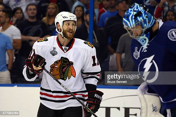 Andrew Desjardins of the Chicago Blackhawks celebrates after defeating the Tampa Bay Lightning by a score of 21 to win Game Five of the 2015 NHL...