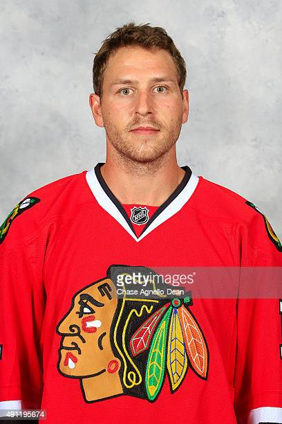 Andrew Desjardins of the Chicago Blackhawks poses for his official headshot for the 20152016 season on September 16 2015 at the United Center in...