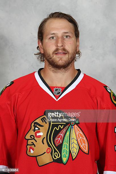 Andrew Desjardins of the Chicago Blackhawks poses for his official headshot for the 20162017 season on September 21 2016 at the United Center in...