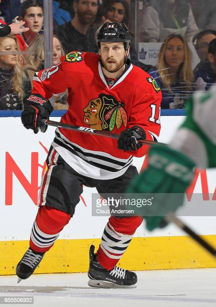 Andrew Desjardins of the Chicago Blackhawks skates against the Toronto Maple Leafs during an NHL game at the Air Canada Centre on March 18 2017 in...