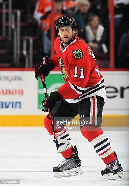 Andrew Desjardins of the Chicago Blackhawks skates against the Philadelphia Flyers on December 3 2016 at the Wells Fargo Center in Philadelphia...