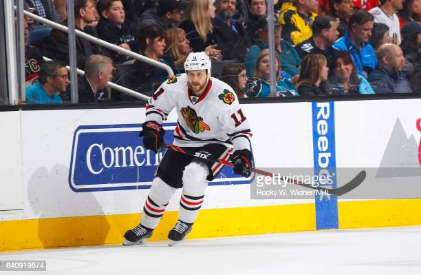 Andrew Desjardins of the Chicago Blackhawks skates against the San Jose Sharks at SAP Center on January 31 2017 in San Jose California