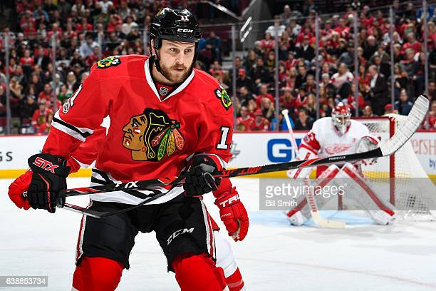 Andrew Desjardins of the Chicago Blackhawks watches for the puck in the first period against the Detroit Red Wings at the United Center on January 10...