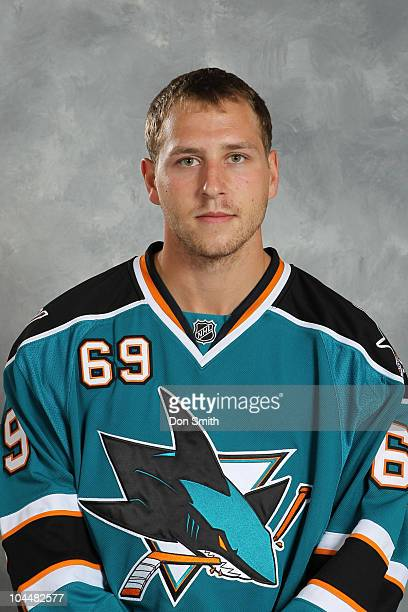 Andrew Desjardins of the San Jose Sharks poses for his official headshot for the 20102011 NHL season at HP Pavilion at San Jose on September 18 2010...