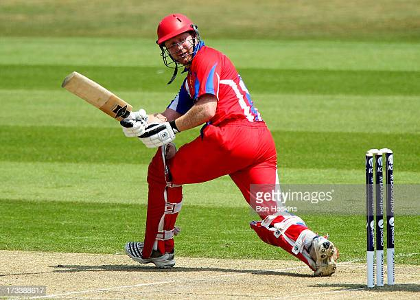 Andrew Dewhurst of Jersey in action during the semi final match between Italy and Jersey at the ICC European Division 1 Championship at The Brighton...