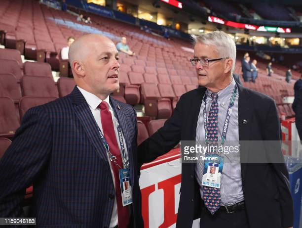 Andrew Dickson and Rob Riley attend the 2019 NHL Draft at the Rogers Arena on June 22 2019 in Vancouver Canada
