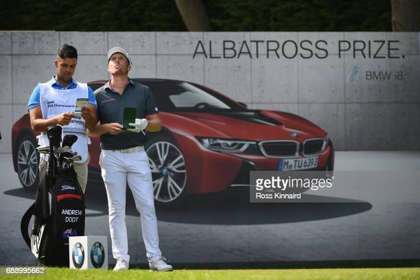Andrew Dodt of Australia and his caddie check a yardage during day three of the BMW PGA Championship at Wentworth on May 27 2017 in Virginia Water...