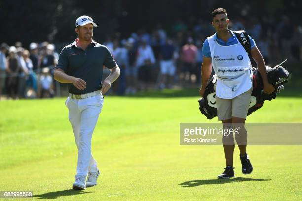 Andrew Dodt of Australia and his caddie on the 17th hole during day three of the BMW PGA Championship at Wentworth on May 27 2017 in Virginia Water...