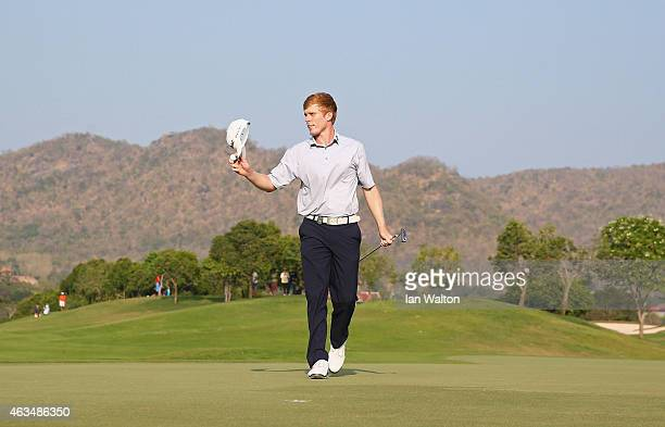 Andrew Dodt of Australia celebrates after winning the final round of the 2015 True Thailand Classic at Black Mountain Golf Club on February 15 2015...