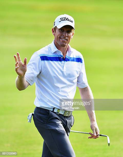 Andrew Dodt of Australia celebrates during the second round of AfrAsia Bank Mauritius Open at Four Seasons Golf Club Mauritius at Anahita on May 13...