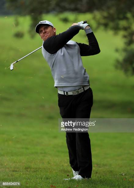 Andrew Dodt of Australia hits his second shot on the 15th hole during day two of the British Masters at Close House Golf Club on September 29 2017 in...
