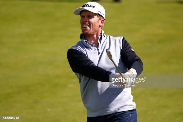 Andrew Dodt of Australia hits his second shot on the 2nd hole during the final round of the AAM Scottish Open at Dundonald Links Golf Course on July...