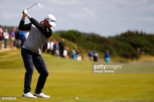 Andrew Dodt of Australia hits his second shot on the 3rd hole during the final round of the AAM Scottish Open at Dundonald Links Golf Course on July...
