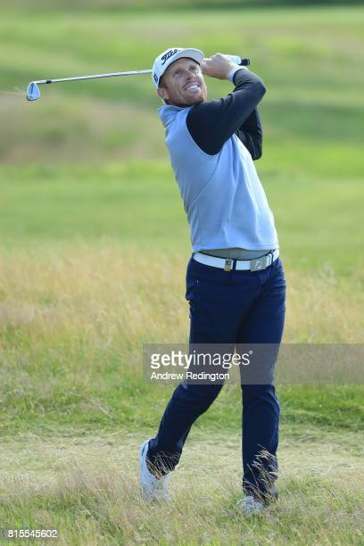 Andrew Dodt of Australia hits his second shot on the 9th hole during the final round of the AAM Scottish Open at Dundonald Links Golf Course on July...