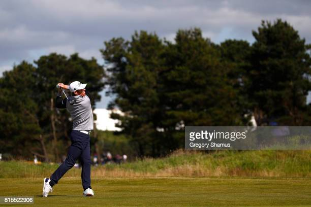 Andrew Dodt of Australia hits his third shot on the 5th hole during the final round of the AAM Scottish Open at Dundonald Links Golf Course on July...