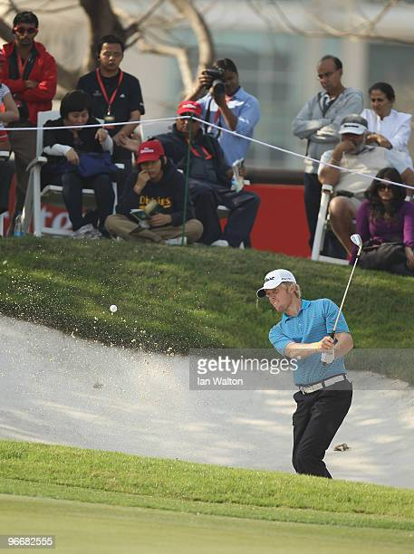 Andrew Dodt of Australia in action during the Final Round of the Avantha Masters held at The DLF Golf and Country Club on February 14, 2010 in New...