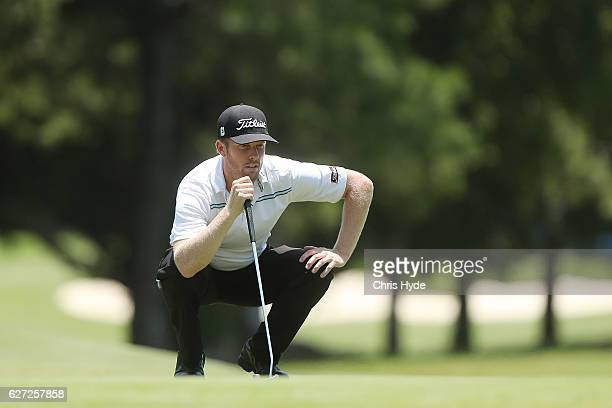 Andrew Dodt of Australia lines up his putt during day three of the Australian PGA Championships at RACV Royal Pines Resort on December 3 2016 in Gold...
