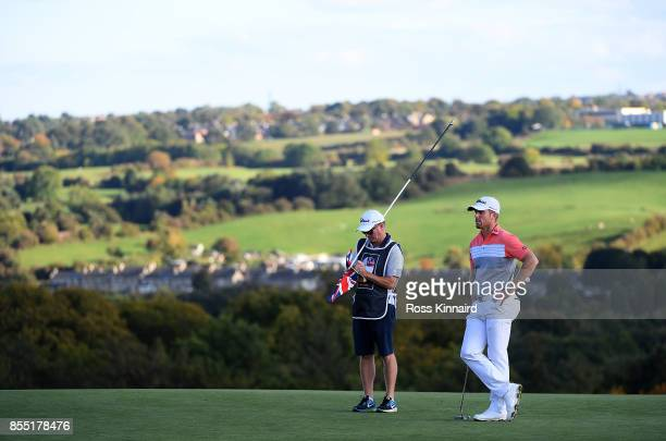 Andrew Dodt of Australia looks on on the 17th green during day one of the British Masters at Close House Golf Club on September 28 2017 in Newcastle...