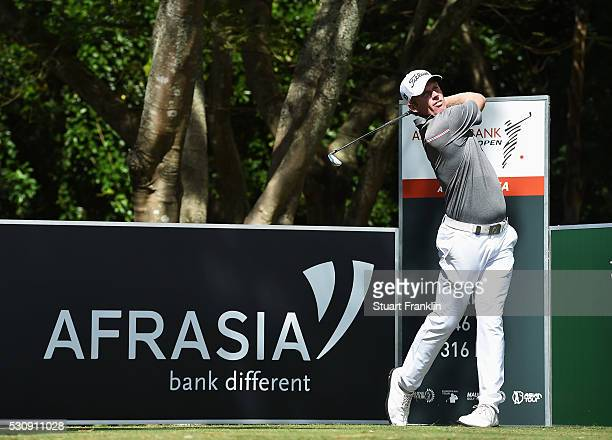 Andrew Dodt of Australia plays a shot during the first round of AfrAsia Bank Mauritius Open at Four Seasons Golf Club Mauritius at Anahita on May 12...