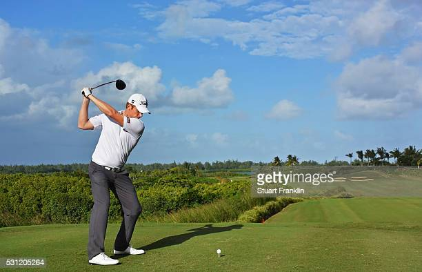 Andrew Dodt of Australia plays a shot during the second round of AfrAsia Bank Mauritius Open at Four Seasons Golf Club Mauritius at Anahita on May 13...