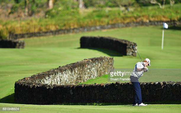 Andrew Dodt of Australia plays a shot during the third round of AfrAsia Bank Mauritius Open at Four Seasons Golf Club Mauritius at Anahita on May 14...