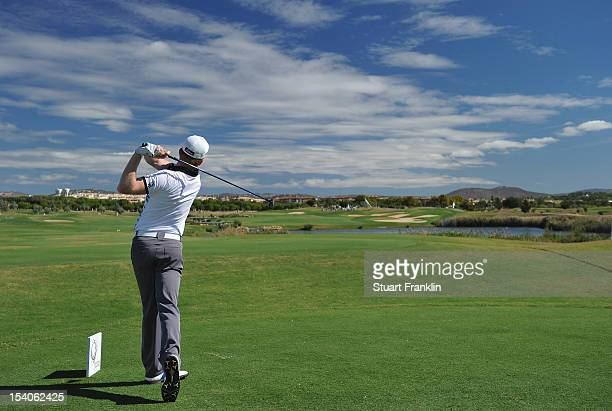 Andrew Dodt of Australia plays a shot during the third round of the Portugal Masters at the Victoria golf course at Villamoura on October 13 2012 in...