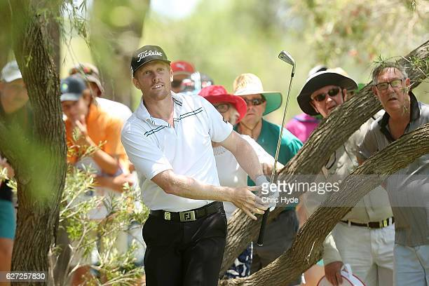 Andrew Dodt of Australia plays his second shot during day three of the Australian PGA Championships at RACV Royal Pines Resort on December 3 2016 in...