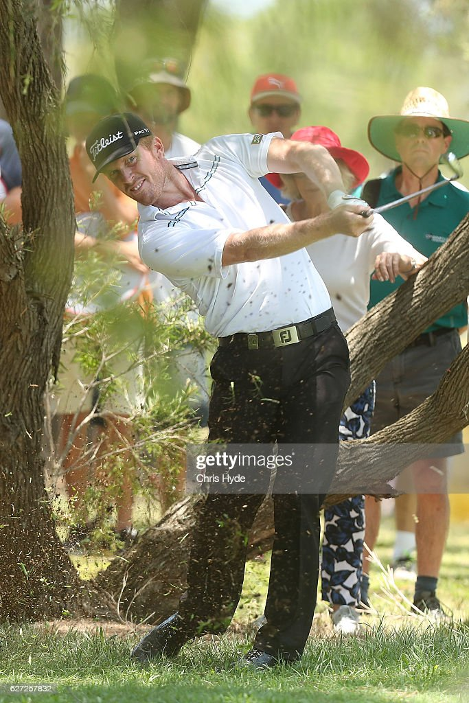Andrew Dodt of Australia plays his second shot during day three of the Australian PGA Championships at RACV Royal Pines Resort on December 3, 2016 in Gold Coast, Australia.