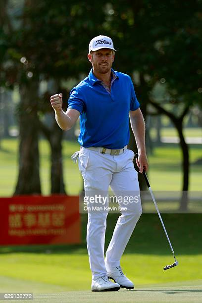 Andrew Dodt of Australia reacts after his putt during the final round of 2016 UBS Hong Kong Open at The Hong Kong Golf Club on December 11 2016 in...
