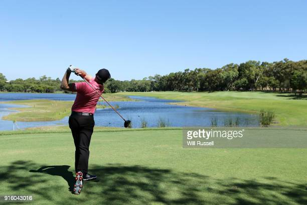 Andrew Dodt of Australia takes his tee shot on the 3rd hole during day two of the World Super 6 at Lake Karrinyup Country Club on February 9 2018 in...