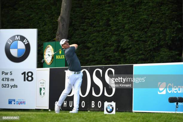 Andrew Dodt of Australia tees off on the 18th hole during day three of the BMW PGA Championship at Wentworth on May 27 2017 in Virginia Water England