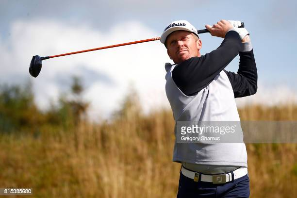 Andrew Dodt of Australia tees off on the 2nd hole during the final round of the AAM Scottish Open at Dundonald Links Golf Course on July 16 2017 in...