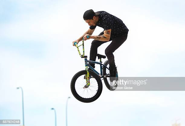 Andrew Domenicone of Coventry RI practiced his freestyle BMX techniques at the Lynch Family Skate Park in Cambridge Mass on Sunday May 22 2016