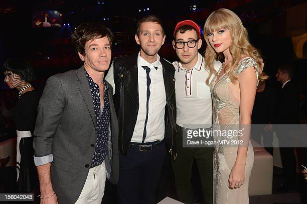 Andrew Dost, Jack Antonoff and Nate Ruess of Fun and Taylor Swift pose in the VIP Glamour area at the MTV EMA's 2012 at Festhalle Frankfurt on...