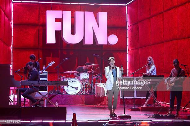 Andrew Dost, Nate Harold, Nate Ruess, Will Noon, Emily Moore and Jack Antonoff of the musical group fun. Perform at the 2012 MTV Movie Awards Open...