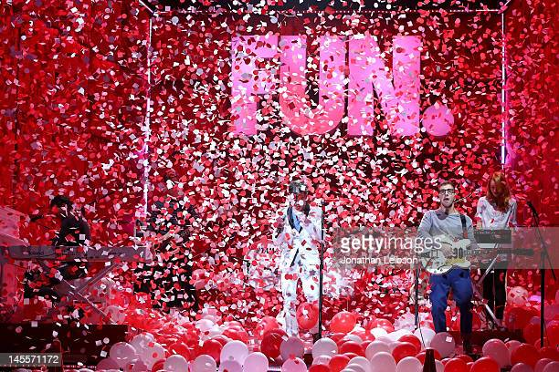Andrew Dost, Nate Harold, Nate Ruess, Will Noon, Jack Antonoff and Emily Moore of the musical group fun. Perform at the 2012 MTV Movie Awards Open...
