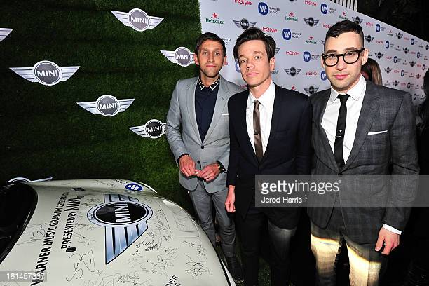 Andrew Dost Nate Reuss and Jack Antonoff of the band Fun arrive at the Warner Music Group GRAMMY Celebration Presented by Mini at Chateau Marmont on...