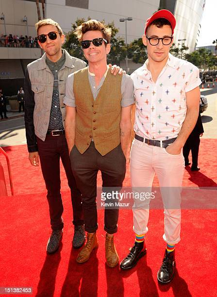Andrew Dost, Nate Ruess and Jack Antonoff of the band Fun arrives at the 2012 MTV Video Music Awards at Staples Center on September 6, 2012 in Los...