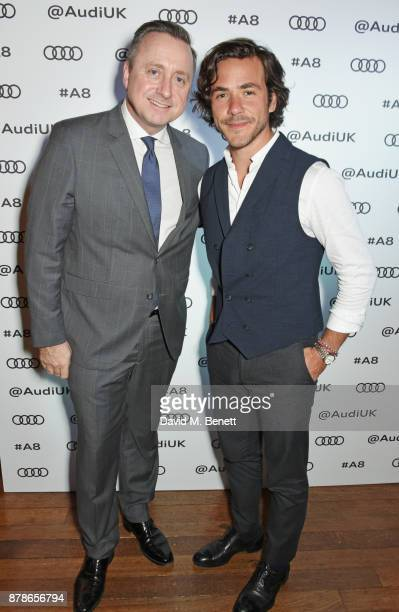 Andrew Doyle Director of Audi UK and Jack Savoretti attend the Audi A8 Launch at Cowdray House on November 24 2017 in Midhurst England