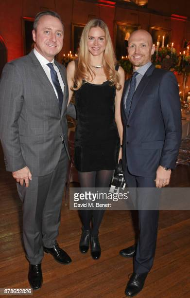 Andrew Doyle Director of Audi UK Carolin Hauskeller and Matt Dawson attend the Audi A8 Launch at Cowdray House on November 24 2017 in Midhurst England