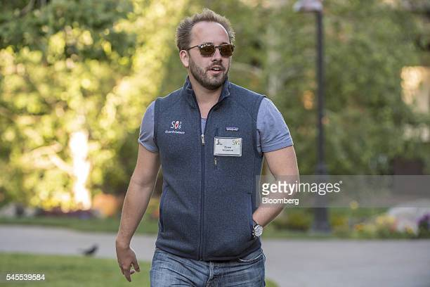 Andrew 'Drew' Houston chief executive officer and cofounder of Dropbox Inc arrives for the morning sessions during the Allen Co LLC Media and...