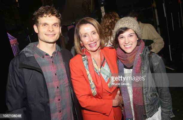 Andrew Durand Nancy Pelosi and Alexandra Socha pose backstage at the hit musical based on 'The GoGo's' songs 'Head Over Heels' on Broadway at The...