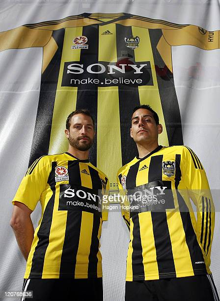 Andrew Durante and Leo Bertos model the new Wellington Phoenix shirts during the launch of the new Wellington Phoenix kit on August 10 2011 at...