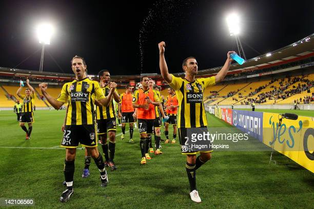 Andrew Durante and Manny Muscat of the Phoenix celebrate their victory during the ALeague Elimination Final match between the Wellington Phoenix and...