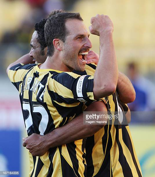 Andrew Durante and Paul Ifill of the Phoenix celebrate a goal during the round 16 ALeague match between the Wellington Phoenix and the Melbourne...