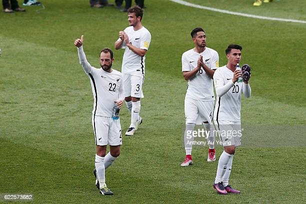 Andrew Durante and Te Atawhai HudsonWihongi of New Zealand thanks the supporters after winning the 2018 FIFA World Cup Qualifier match between the...