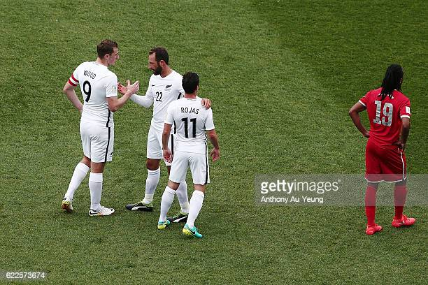 Andrew Durante Chris Wood and Marco Rojas of New Zealand celebrate after winning the 2018 FIFA World Cup Qualifier match between the New Zealand All...